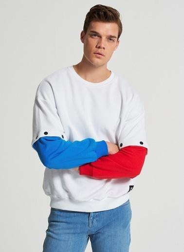 Pi π Kolu Çıt Çıt Detaylı Sweatshirt Beyaz